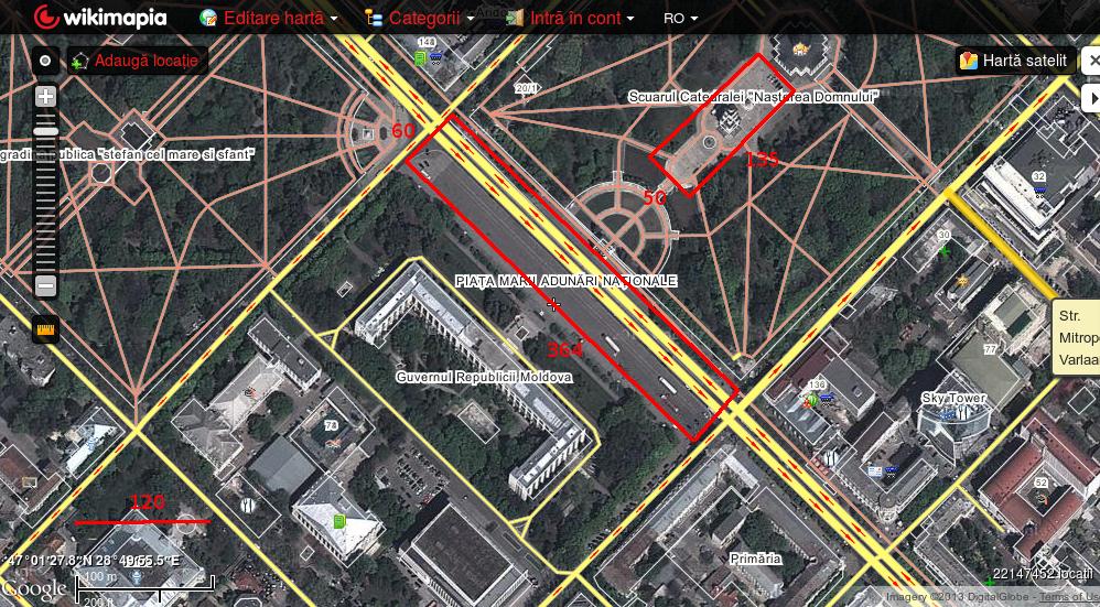 Piața Marii Adunări Naționale. Suprafața activă - 19695 metri pătrați (2 ha).